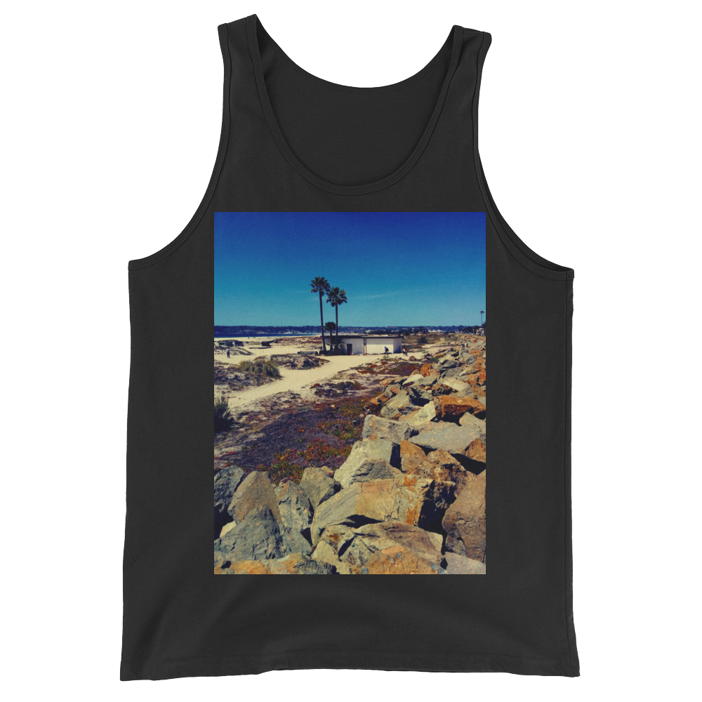 """Coronado Beach"" Tank Top - Black - Beachwear by Space Is Black Apparel"