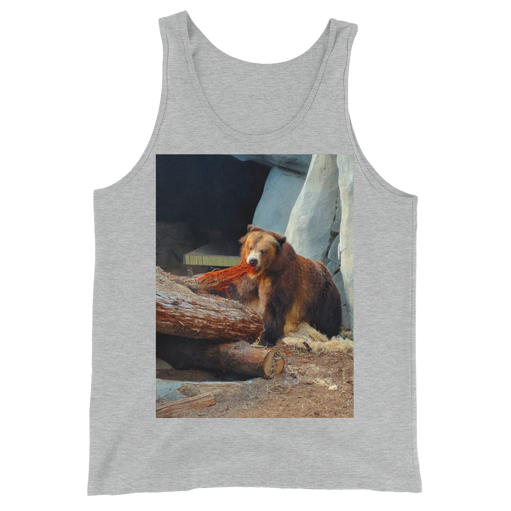 """Cali Bear"" Tank Top - Athletic Heather - Beachwear by Space Is Black Apparel"