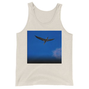 """Blue Bird"" Tank Top - Oatmeal Triblend - Beachwear by Space Is Black Apparel"