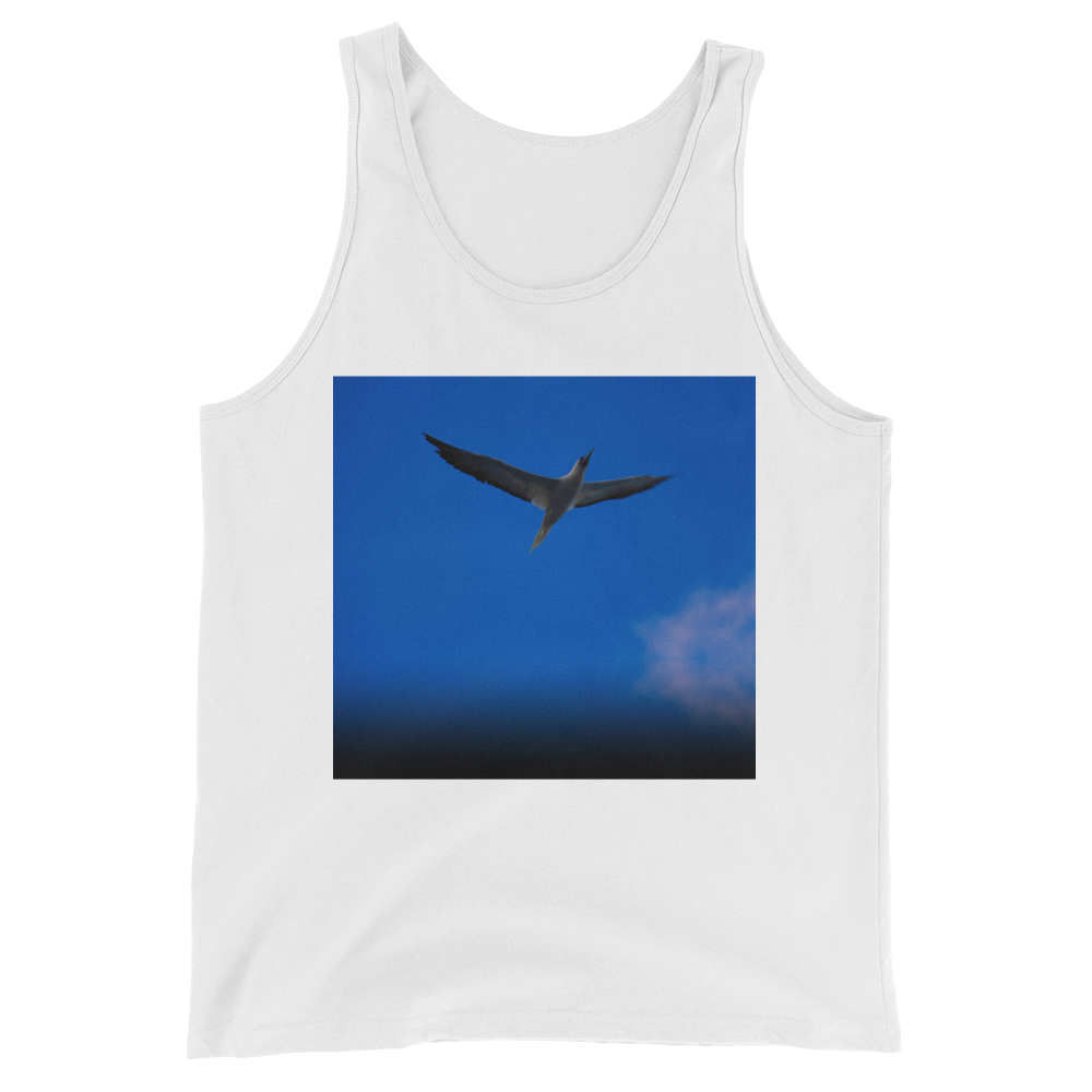 """Blue Bird"" Tank Top - White - Beachwear by Space Is Black Apparel"