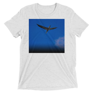 """Blue Bird"" - White Fleck Triblend - Beachwear by Space Is Black Apparel"