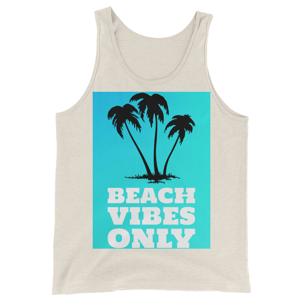 Beach Vibes Only (BabyBlue) - Oatmeal Triblend - Beachwear by Space Is Black Apparel