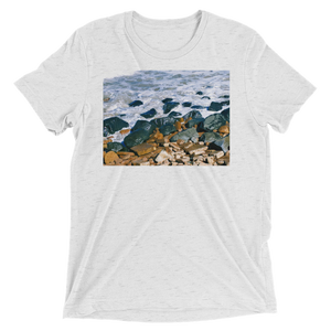 """Pacific Rocks"" - White Fleck Triblend - Beachwear by Space Is Black Apparel"