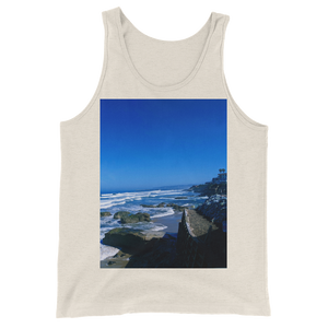 """Pacific View"" Tank Top - Oatmeal Triblend - Beachwear by Space Is Black Apparel"