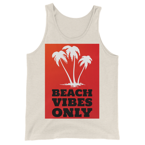 Beach Vibes Only (RED) - Oatmeal Triblend - Beachwear by Space Is Black Apparel