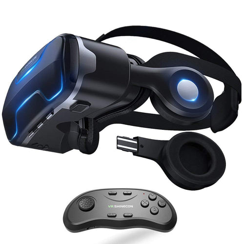 VR Headset with Remote Controller Stereo Headphones for iPhone and Android Virtual Reality Glasses Goggles Provide 360 Panorama for VR Games 3D HD Movies