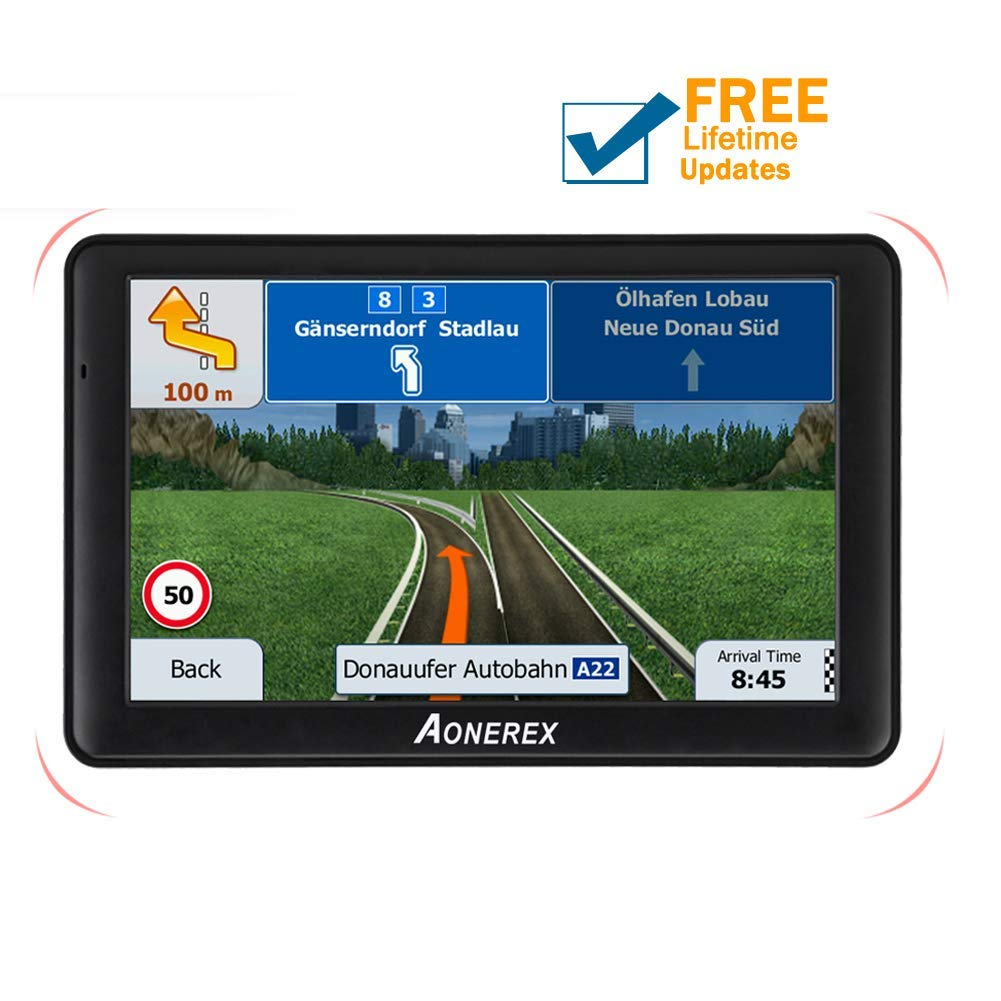 Aonerex GPS Navigation 7-inch HD Display Built-in with 128MB-8GB GPS Navigation System Built-in Multi-Media and FM for Car with Lifetime Free Update