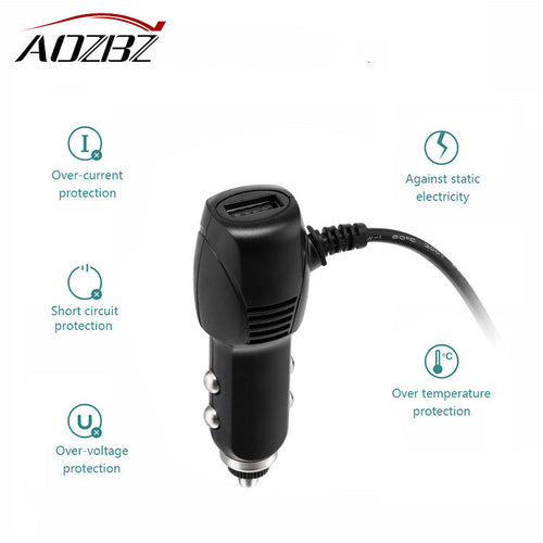 AOZB USB Car Charger Adapter with Extra USB Port 11.5Ft Charging Cable for Car DVR Dash Cam GPS Navigation Cell Phone