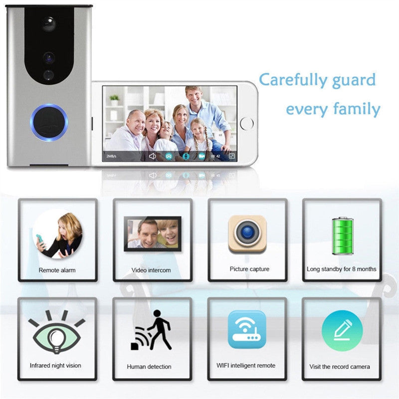 Buy WiFi Wireless Doorbell Camera Remote Video Door Intercom IR Night Vision Security Bell Phone(Silver) for $98.99