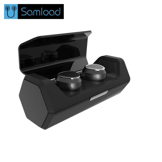 Samload Bluetooth Earphones Sport True Wireless Double-Ear TWS Stereo Earbuds Headset with Microphone for all mobile phone