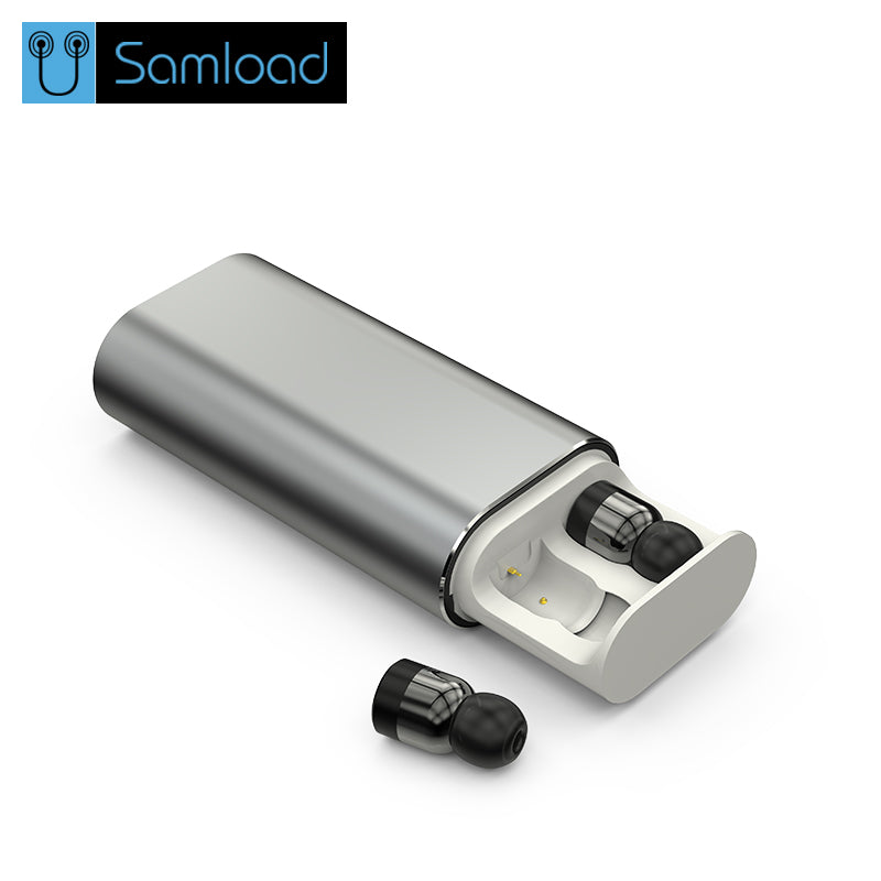 Samload Wireless Bluetooth Earphones TWS Mini Bluetooth Headset with Mic Music Earbuds and 2200mAh For iPhone charging boX