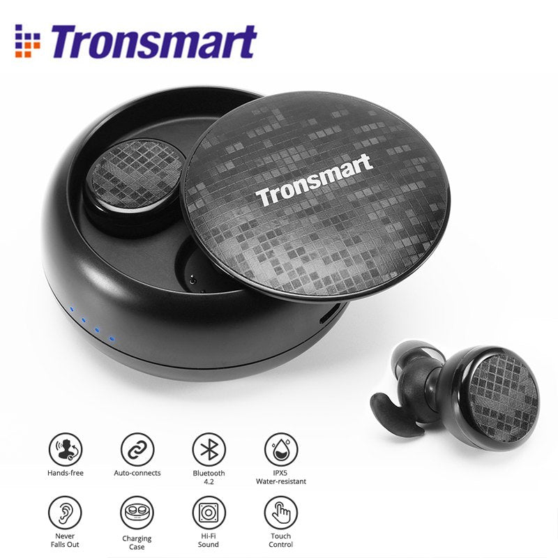 Buy Tronsmart Encore Spunky Buds Bluetooth Headphones True Wireless Stereo Earbuds IPX5 Water Resistant with Mic for Phones for $46.58