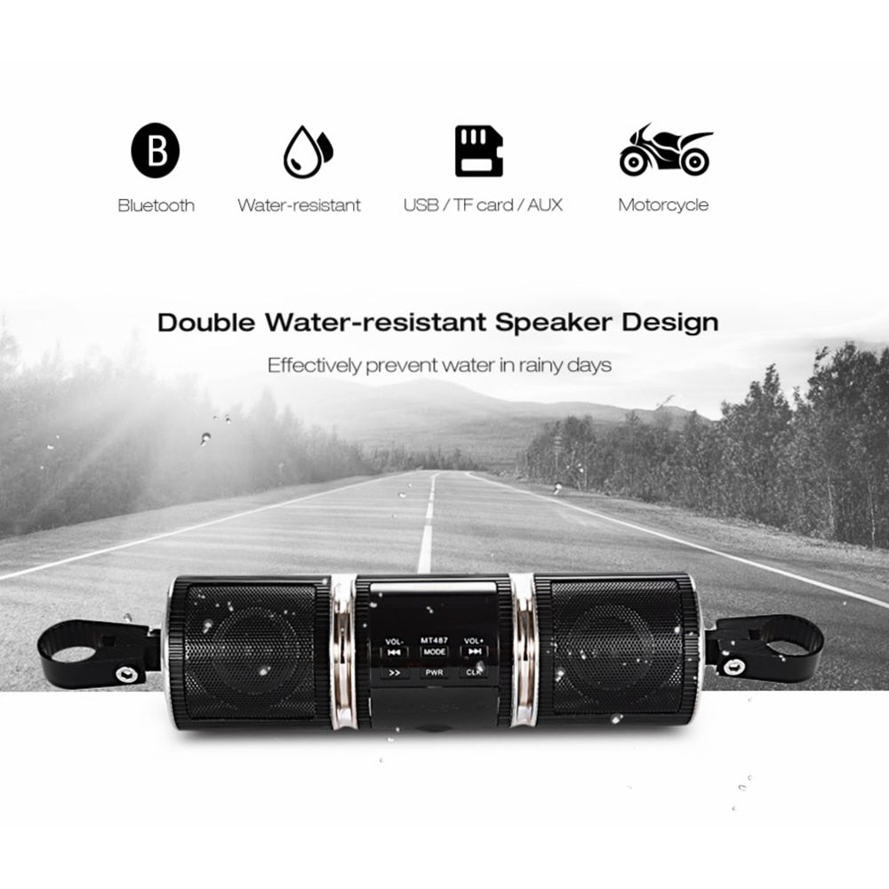 Buy Motorcycle Speaker Bluetooth V2.1 + EDR MP3 Music Player Waterproof LED Display Stereo Audio Motor FM Radio AUX in USB TF Silver for $26.51