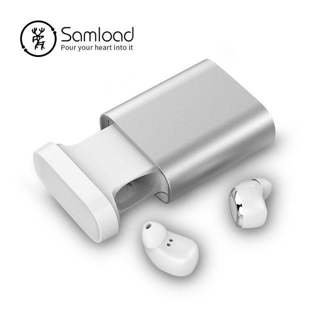 Samload Bluetooth Earbuds True Wireless Headset Portable Stereo Headphone Music Earphones With Charging Case For iPhone8 Xiaomi