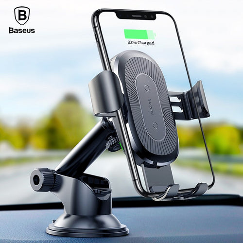 Buy Baseus 2 in1 Qi Wireless Car Charger for iPhone X 8 Samsung S9 Quick Wireless Charging Charger Car Mount Mobile Phone Holder for $20.42