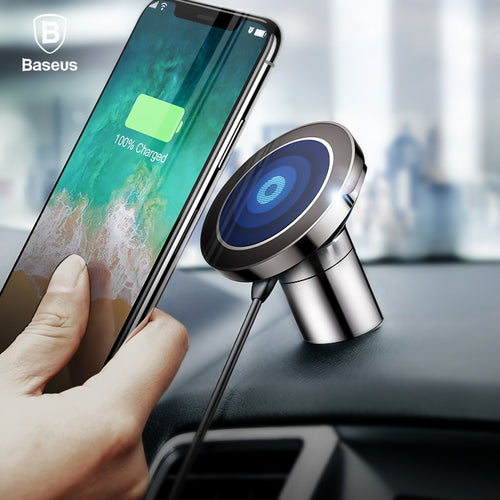 Buy Baseus Qi Wireless Charger Magnetic Car Phone Holder For iPhone X Samsung Holder Stand Wireless Car Charger Mobile Phone Holder for $22.49