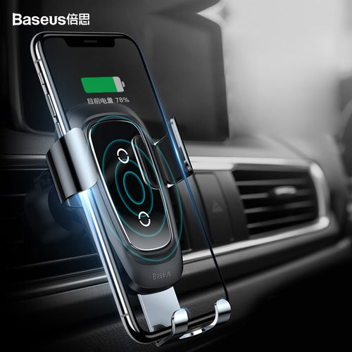 Buy Baseus 10W Qi Wireless Car Charger for iPhone X 8 Fast Wireless Charger Pad Holder Stand for Samsung S9 Mobile Phone Holder for $47.99