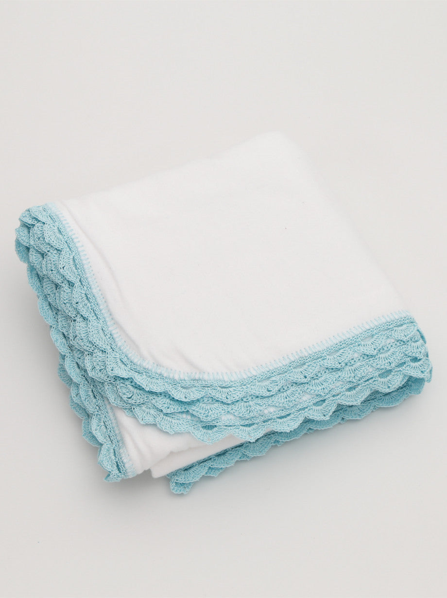 Ammee's Heirloom Crochet Blanket - Christening White/Mint