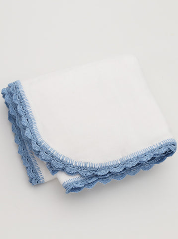 Ammee's Heirloom Crochet Blanket Christening White/Blue