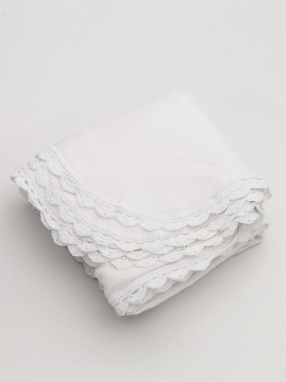 Ammee's Heirloom Crochet Blanket - Christening White/White