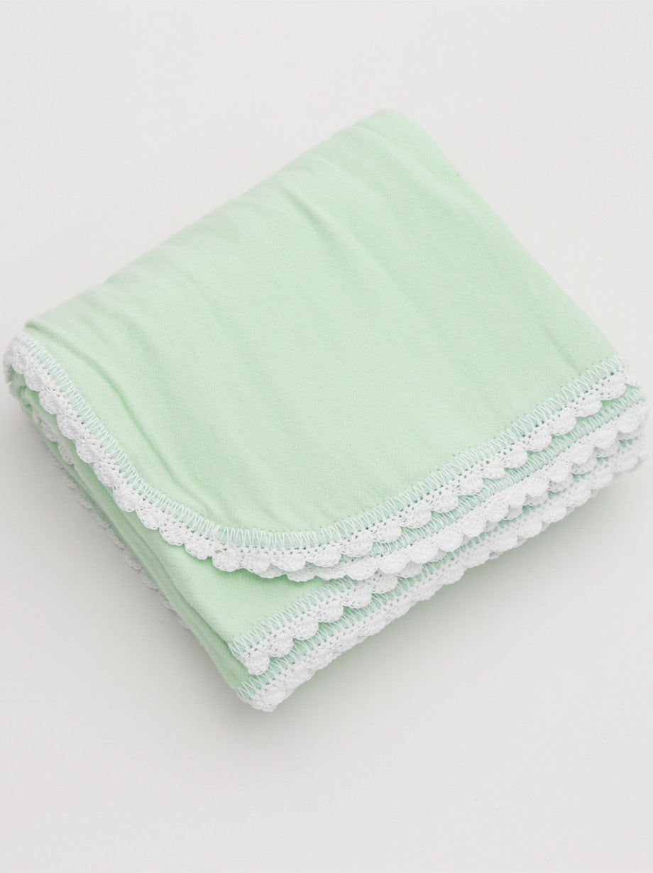 Ammee's Heirloom Crochet Blanket - Leafy Green/White