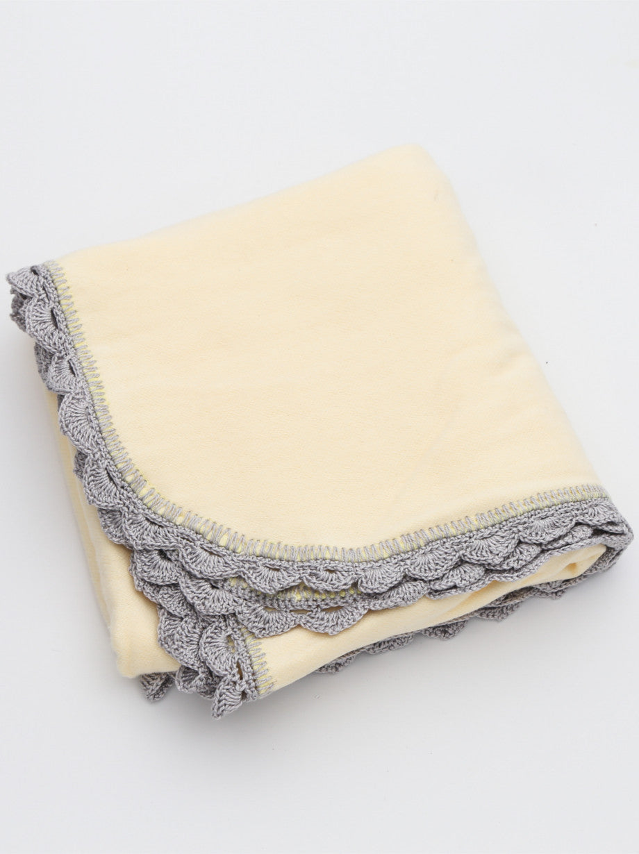 Ammee's Heirloom Crochet Blanket - Sunny Yellow/Gray