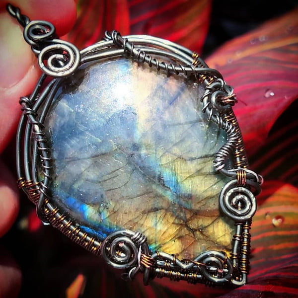 """Nebula"" - Wire wrapped Labradorite Pendant Necklace"