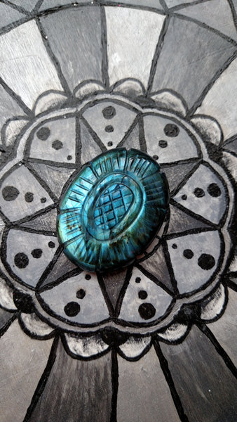 Large oval Blue green Labradorite etched flower cabochon