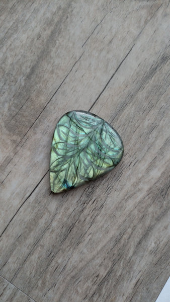 Large pear labradorite leaves etched cabochon