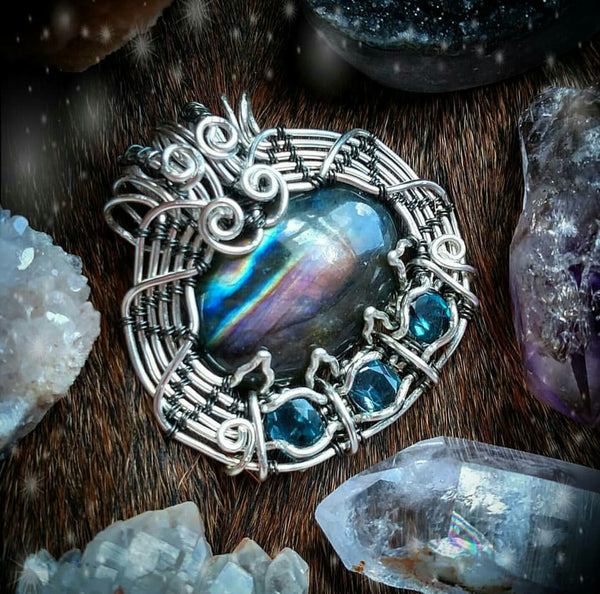 """Amphitrite"" wire wrapped pendant"