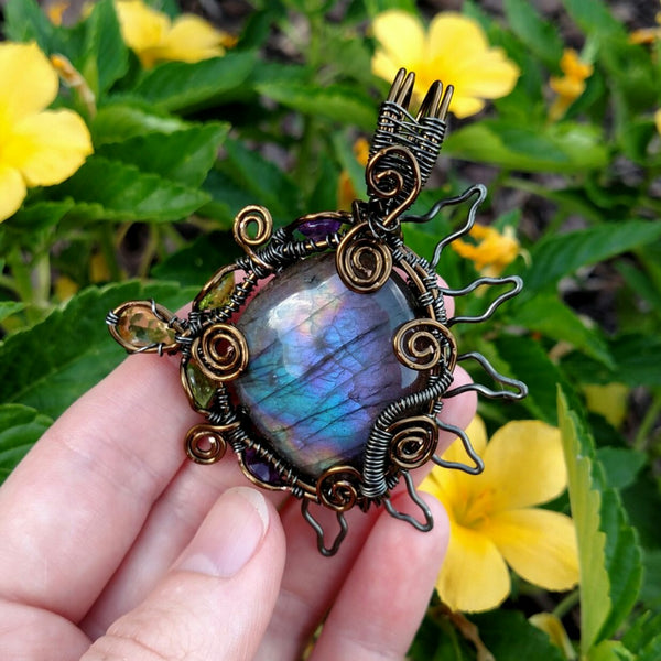 """Sol"" wire wrapped labradorite pendant necklace"