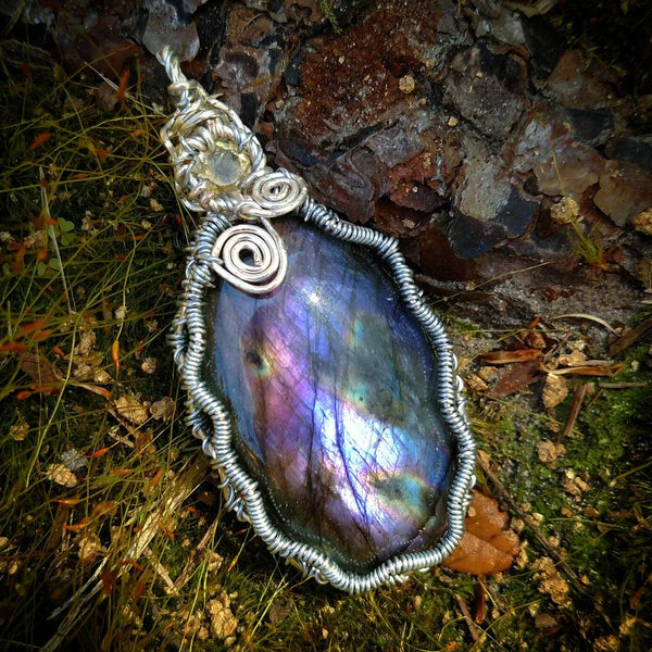 """Iris"" - Wire Wrapped Purple Labradorite and Citrine Crystal Pendant Necklace"