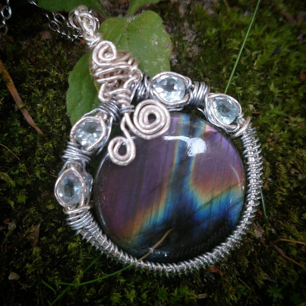 """Storm"" - Wire Wrapped Crystal Pendant Necklace"