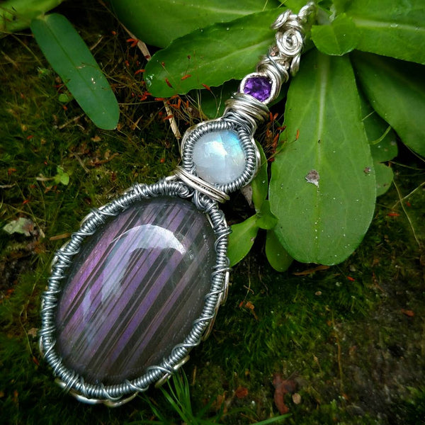 """Violet"" - Wire Wrapped Crystal Pendant Necklace"