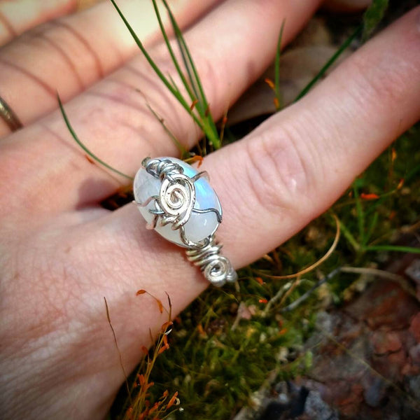 """Moonstoned"" - Wire Wrapped Moonstone Ring"