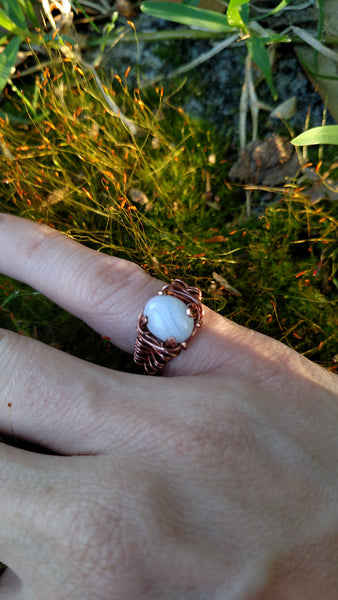 Wire Wrapped Blue Lace Agate Pinky Ring