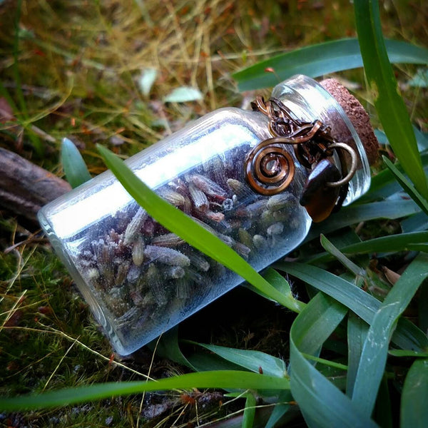 """Lavender Magic"" - Wire Wrapped Lavender Vial"