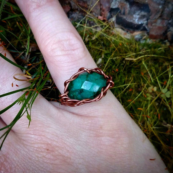 "Reserved for @luxurecycles-- ""Ivy"" - Emerald Wire Wrapped Ring"