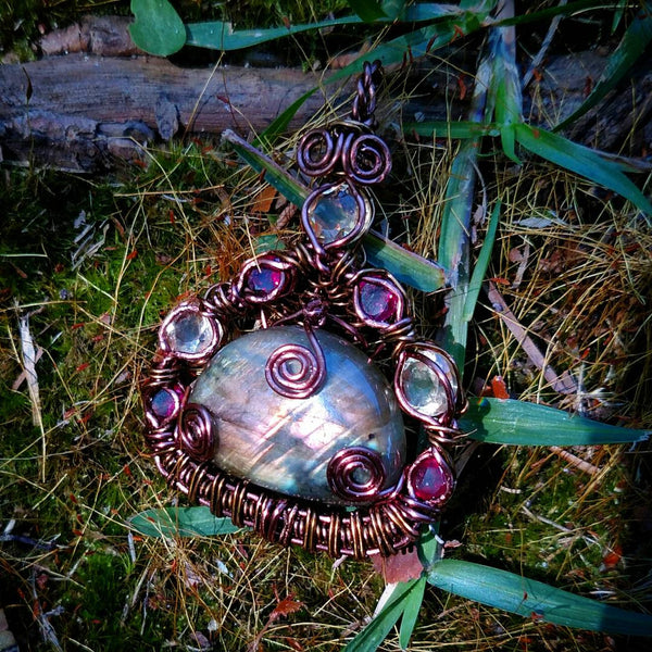 """Aphrodite"" - Wire Wrapped Labradorite, Citrine, and Rhodalite Pendant Necklace"