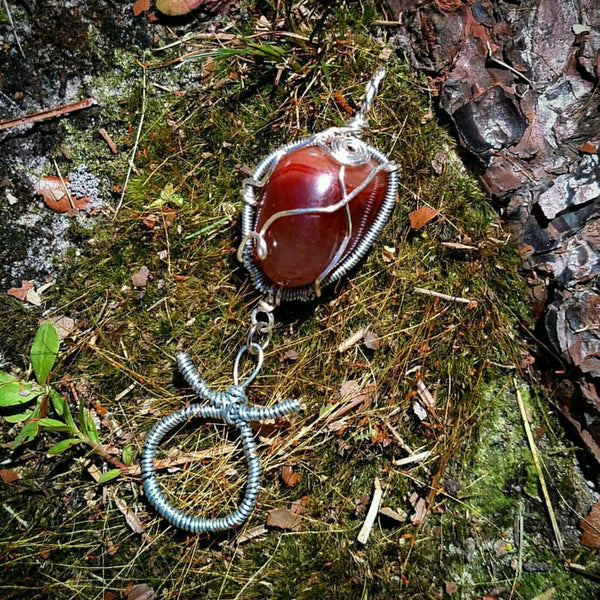 """Taurus Rising""- Carnelian Wire Wrapped Crystal Zodiac Pendant"