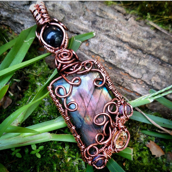 """Savannah"" - Wire Wrapped Labradorite, Ethiopian Opal, and Citrine Pendant Necklace"