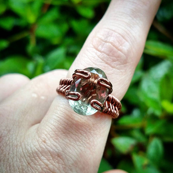 """Esmeralda"" - Praisiolite Wire Wrapped Ring"