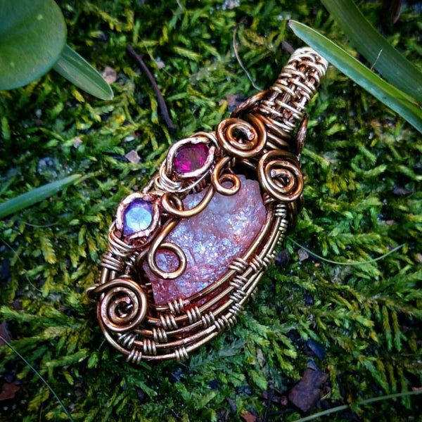 """Sunburst"" - Wire Wrapped Sunstone, Amethyst, and Rhodolite Garnet Pendant Necklace"