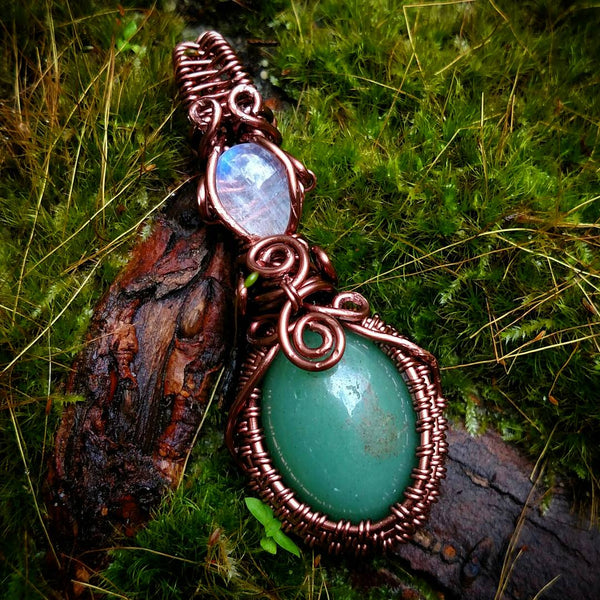 """Venus"" - Wire Wrapped Moonstone and Green Aventurine Pendant Necklace"