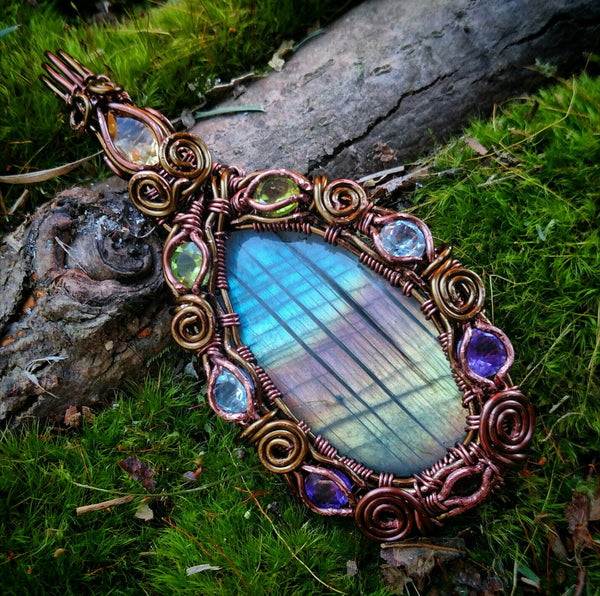 """Artemis""- Wire Wrapped Crystal Pendant"