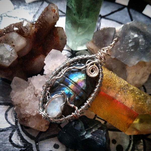 "RESERVED- ""Cool Vibes"" - Wire Wrapped Labradorite and Moonstone Crystal Pendant Necklace"