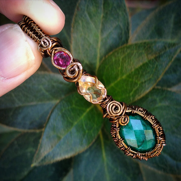 """Geraldine"" Wire Wrapped Gemstone Pendant"