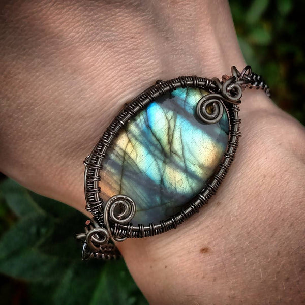 """Lea"" Wire Wrapped Labradorite Crystal Bracelet"