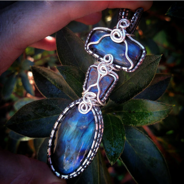 """Oceana"" Wire Wrapped Labradorite and Boulder Opal Amulet Necklace"