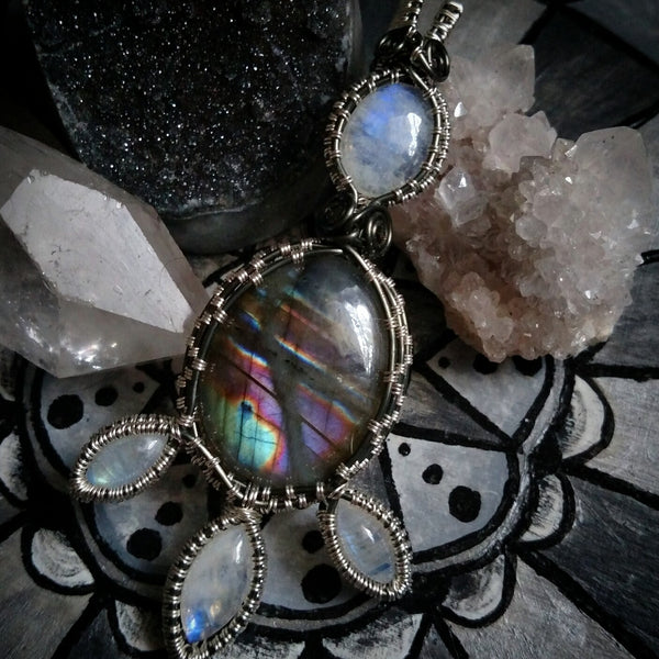 """Fleur"" Wire Wrapped Labradorite and Moonstone Pendant Necklace"